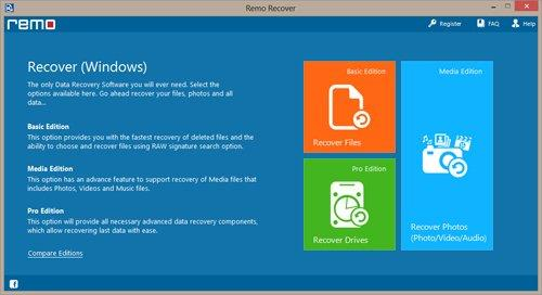 Windows 7 Data Recovery Main Screen