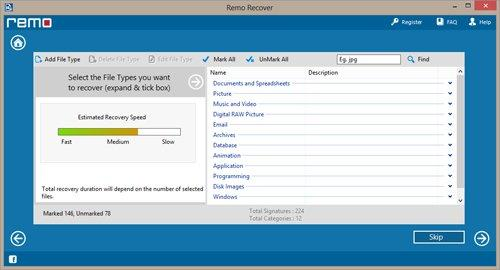 Recover Data from RAW Partition on Windows 7 - Select File Type